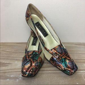 J Renee Multicolor Snakeskin Block Heels
